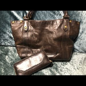 Frye Large Leather Purse Matching Wallet
